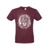 Camiseta algodón león color Burgundy
