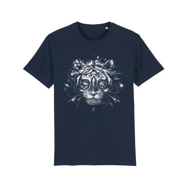 Camiseta algodón orgánico tigre color French Navy
