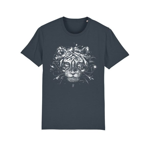 Camiseta algodón orgánico tigre color Indian Ink Grey